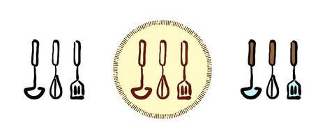 Contorno y color y símbolos retro de utensilios de cocina. vector
