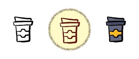 Contour and colored and retro symbols of coffee to go vector