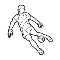 Gaelic Sport  Male Player Kick Ball Action vector