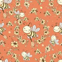 Seamless pattern with cute honeybees Vector