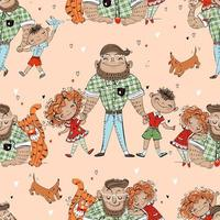 Seamless pattern with dad and kids Fathers Day Vector