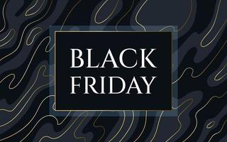 Black friday poster Abstract dark background with shapes and golden lines for sale in the store Vector illustration