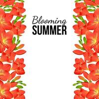pancarta blanca con flores rojas en los bordes vector