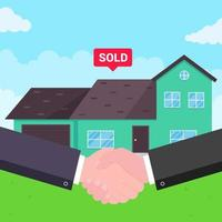 comprar casa nueva a la venta dos manos temblando gran acuerdo acuerdo estilo plano ilustración vectorial casa nueva detrás vendida para nuevo propietario o propietario buena asociación y concepto de trato exitoso vector