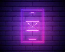 Glowing neon New chat messages notification on phone icon isolated on dark brick wall background Smartphone chatting sms messages speech bubbles Vector Illustration