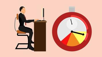 officeman sit and working on his desk vector
