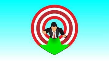 businessman flying goal setting vector