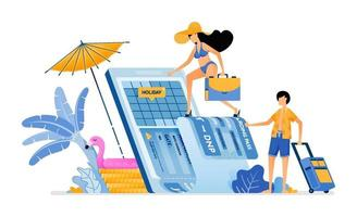 Choose date of plane ticket for vacation to tropical island beach Purchase vacation tickets to bali with mobile apps Illustration can be used for landing page banner website web poster brochure vector