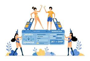 Woman wearing a bunny suit and holding a tropical island vacation ticket gift Couple wins vacation ticket lottery Illustration can be used for landing page banner website web poster brochure vector