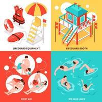 Beach Lifeguards 2x2 Design Concept Vector Illustration