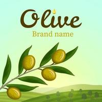 Olive label with brandh and hillside vector