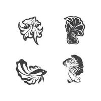Fish animal aquatic logo beta fish design vector and illustration