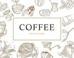 Hand drawn coffee illustration card Vector