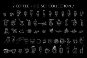 dibujado a mano ilustración gráfica de vector de juego de café