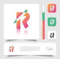 diseño de logotipo de estilo de corte de papel de letra r vector