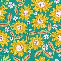 Decorative beautiful abstract modern Sun flowers seamless pattern design vector illustration  background wedding greeting invite scrapbooking paper fabric