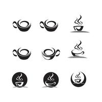 Coffee bean icon, hot drinks vector