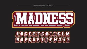 Red and Yellow Slab Serif Varsity Sports Typography vector