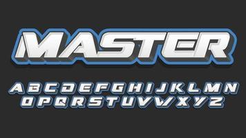 Blue 3D Varsity Sports Typography vector