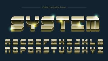 tipografía metálica brillante retro dorada vector