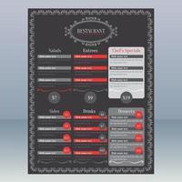 Black and Red Elegant Restaurant Menu vector
