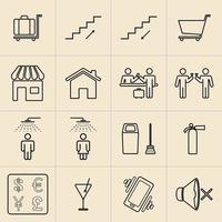 Exhibition Line Icons Set vector