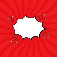 Vector illustration red speech bubble with star and pop art style