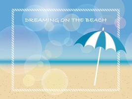 Vector summer background illustration with a beach parasol and text space