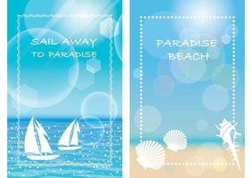 Vector Summer Background Set With Text Space Isolated On A White Background