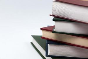 Book stack on a white background photo