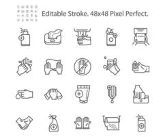 Cleaning and Disinfection Related Vector Line Icons