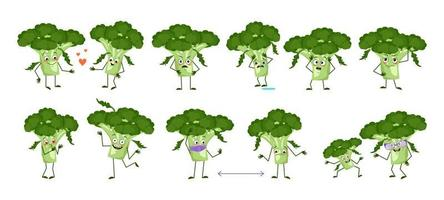 Set of cute broccoli characters with emotions faces arms and legs Funny or sad heroes green vegetables play fall in love keep their distance vector
