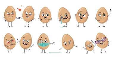 Set of cute egg characters with emotions face arms and legs Happy Easter decoration Smiling or sad food heroes falling in love masked distance dancing or crying vector