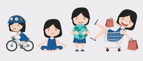 cute girl character illustration set vector