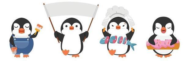 Cute penguin cartoon characters set vector