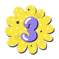 Numeral 3 isolated on bright background Number three Vector illustration for baby design in cartoon style Happy birthday 3 years