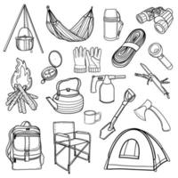 Tourist equipment. Hiking, traveling. a set of icons for camping. Vector illustration in Doodle style. Design for stickers, printing, magazines, blogs