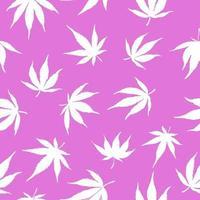 Seamless pattern of white hemp on a pink background.White hemp leaves on a pink background. Marijuana pattern. Vector illustration.