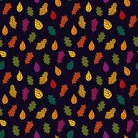 Fallen leaves pattern. Bothnian autumn pattern with fallen leaves of trees on a black background. autumn background. Vector illustration in flat style for wrapping paper, textile printing, blogs