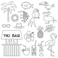 tropical illustrations digital stamps vector