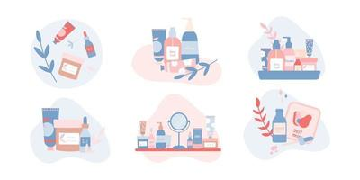 Set of Compositions with Organic Beauty Products Flat Illustration vector