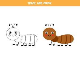 Traza y colorea la linda hoja de trabajo de hormigas para niños. vector