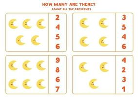 Counting game with cute moon Math worksheet vector