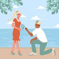 The young guy got down on one knee and proposes to his girlfriend on the embankment by the sea Couple in love at the resort Flat vector illustration