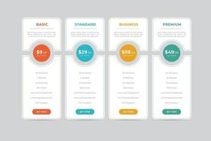Pricing Table  Vector Design