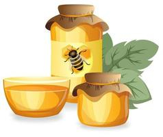 Vector image of honey in various containers