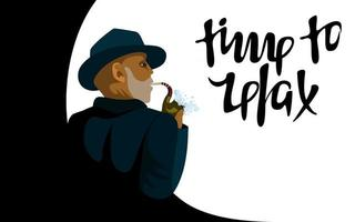 Vector flat isolated image of a black man smoking a pipe