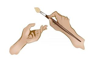 vector image of hands holding a brush
