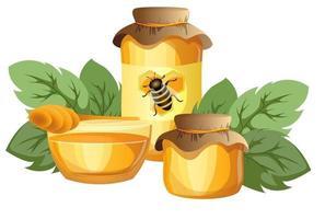 vector de la imagen de la miel en varios recipientes