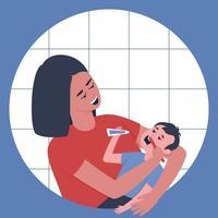 Baby teeth cleaning vector